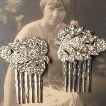 Original Art Deco Bridal Hair Comb Pair, 1920s Pave Crystal Small Leaf Fur Clips to Gatsby Wedding Headpiece, Downton Abbey Hair Accessories