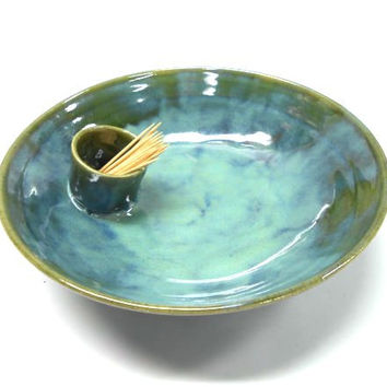 Pottery Serving Bowl, Ceramic Serving Bowl, Attached Tooth Pick Holder, Shrimp Serving Bowl, in Brown with Blue Highlights