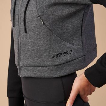 Gymshark Two Tone Cropped Hoodie - Charcoal Marl/Black