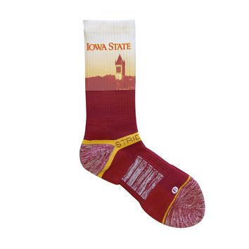 Strideline 2.0 Iowa State Clock Tower Cardinals Red Gold Crew Socks