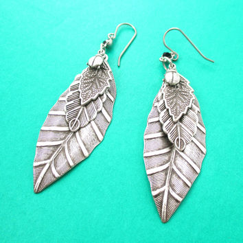 Realistic Mixed Leaves Shaped Nature Inspired Dangle Earrings in Silver | DOTOLY