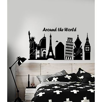 Vinyl Wall Decal Attractions World Travel Quote Tourist Agency Stickers (3689ig)