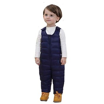 New Baby Kids Down Pant Boys & Girls Warm Duck Down Overall for Winter Child Trousers Jumpsuit