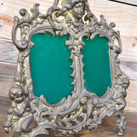Antique Victorian Brass Frame, Double Brass Frame, Standing Picture Frame, Easel Back