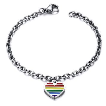 Love Heart Rainbow Gay Pride Bracelets Bangles Titanium Steel LGBT For Women Men Couple Jewelry