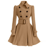 Flared Hem Turn-down Collar Slim Double Button Wool Coat With Belt on
