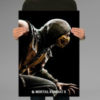 Poster Print Mortal Kombat X Scorpion Wall Decor Canvas Print - halawatani.com