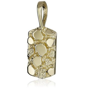 14k Solid Yellow Gold Men's Nugget Charm Pendant