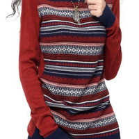 Long Sleeve Cashmere Blend Knitted Striped Pullover Sweater