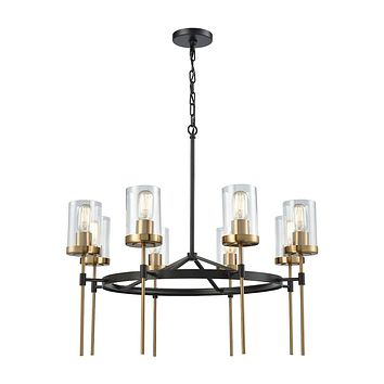 14554/8 North Haven 8 Light Chandelier In Oil Rubbed Bronze With Satin Brass Accents And Clear Glass