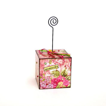 Photo Holder Decoupaged Wire Photo Holder Picture Holder Gift for Her Recipe Card Holder Floral Green Word Memories Boho Decor