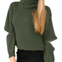 Army Green Folded High Neckline Cut-Out Detailed Long Sleeve Knit Sweater
