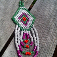 Native American Beaded Earrings in Green, Metallic Pink, Orange, and White  in Geo Pattern with Looped Fringe