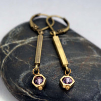 Art Deco Earrings with purple swarovski crystals
