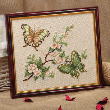 Handmade cross stitched picture Green Butterflies Wall hanging Home decor ideas