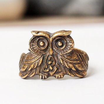 Owl ring, Owl jewelry, Owl, Celtic owl, Owl rings, Celtic ring, Noric ring, Norse ring, Celtic knot, Brass ring, Brass jewelry, Size 6