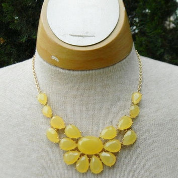 CHUNKY Opaque Bright YeLlOw Collar BIB Anthropologie Style STATEMENT Necklace - Bridesmaids Gift