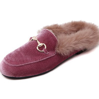 Spring Autumn Winter Women Real Natural Rabbit Fur Feather Velvet Oxfords Slides Mules Slippers Sandals Shoes Rose Pink Black
