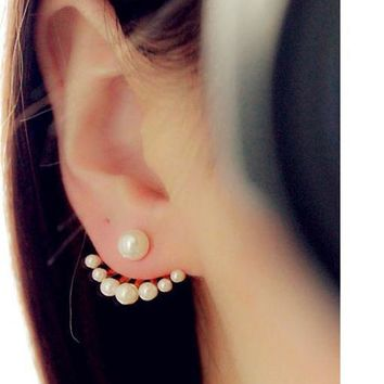 Fashion Women's Front & Back Earrings Post-hanging Earrings Simulated Pearl Statement Stud Earrings Ear Clips For Women Jewelry
