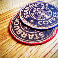 STARBUCKS CORK COASTER, Personalized Round Cork Coasters, Starbucks, starbucks coffee, Starbucks Coasters, Gift for him - set of 4