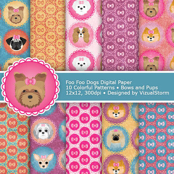 Toy Dogs Digital Paper, foo foo pups and pink bows, cute pet papers & bow patterns, colorful and girly digital dog papers, Buy 2 Get 1 Free
