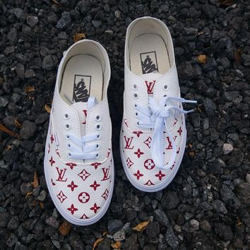 Vans x Supreme x Lv White for casual shoes
