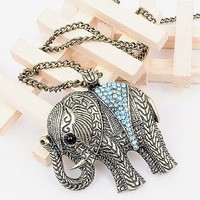 Fashion Vintage Classic Carved Elephant Rhinestone Pendant Long Chain Necklace