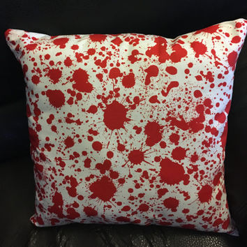 Blood splatter pillow