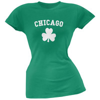 St. Patrick's Day - Chicago Shamrock Green Juniors Soft T-Shirt