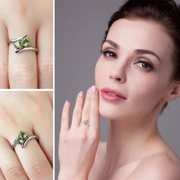 JewelryPalace Fashion 0.82ct Natural Peridot 2 Stone Engagement Rings For Women 100% 925 Sterling Silver Ring Brand Fine Jewelry