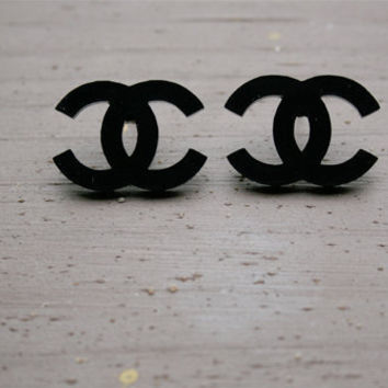 Black Chanel C Stud Earrings