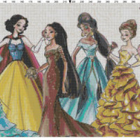 Disney Designer Princess Dolls Cross Stitch Pattern PDF (Pattern Only)