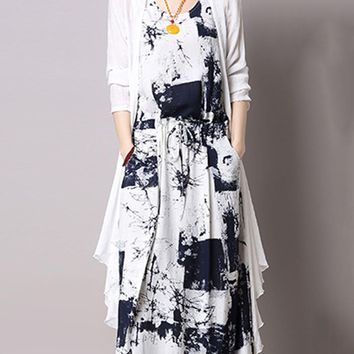 Casual Round Neck Drawstring Pocket Printed Two-Piece Maxi Dress