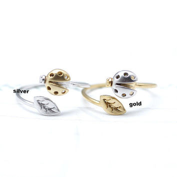 LadyBug and tiny leaf ring in gold / silver - Adjustable Ring
