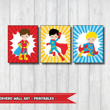 "SUPERHERO Wall Art Set of 3, Printable Playroom Decor, 8x10"", Boys Room Decal, Superheroes Party Supplies, Nursery Poster, Kids Decoration"