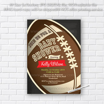 Baby Shower, football Invitation, boy baby shower chalkboard or use for other party - card 771