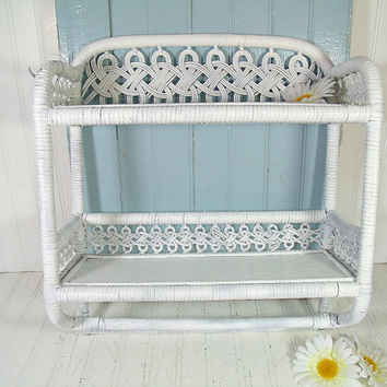 Vintage White Wood and Woven Wicker Shelf - 2 Shelves & Towel Rack Wall Hanging Organizer Unit - Shabby Chippy Paint Cottage Style Storage