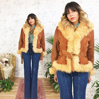 Vintage 1970's Rust PENNY LANE Cropped Shearling And Suede Coat || Size Medium