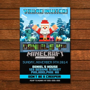 Minecraft Santa Inspired Invitation