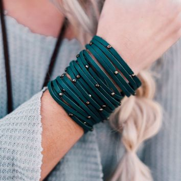 Studded + Sliced Wide Leather Cuff - Teal