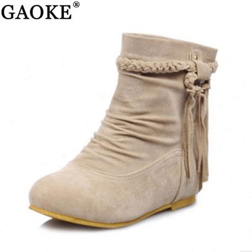 Suede Women Boots Classic Tassel Ankle Boots Round Toe Winter Women Boots Ladies Party Western Stretch Fabric Boots Flat Shoes