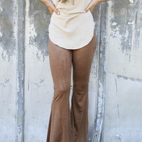 Brown Suede Bell Bottoms Pants