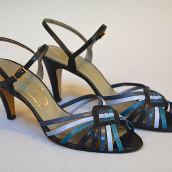 Vintage 80s Blue Leather Color Block Peep Toe Sandals Size 9 1/2 High Heels by Empress
