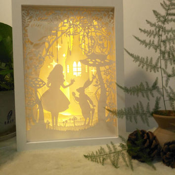 Alice in wonderland paper cut light box, 3d dream box, shadow box, papercut lightbox, Alice night light, gift idea, kids nursery room decor