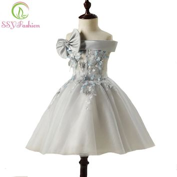 New Sweet Lace Flower Girl Dresses for Wedding The Children's Boat Neck Grey Appliques with Bow Short Party Gown