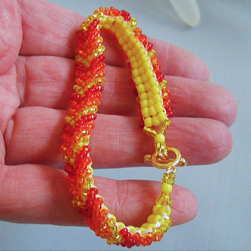 Bright Orange Yellow and Red Beadwoven Chevron Bracelet ~Chevron Bracelet~Beadwoven Bracelet~Colorful Bracelet~Boho Bracelet~HippieBracelet