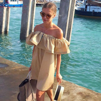 Fashion Women Summer Strapless Sexy Slash Ruffled  Strapless Backless The Beach Style Big Size Solid Color Dress