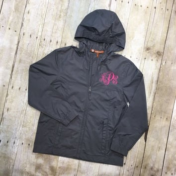 Girls Monogram Raincoat | Youth Monogram Rain Jacket | Childrens Monogram Rain Jacket | Girls Rain Jacket | Girls Raincoat