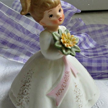Bisque Porcelain Handpainted Figurine Miss November Little Girl