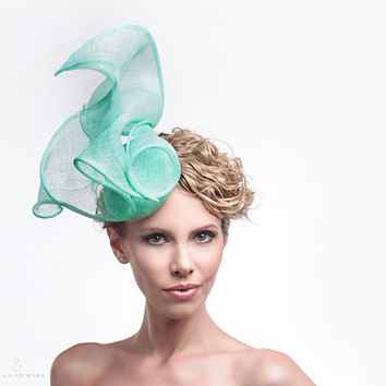 Mint Green - Sea Blue Women - Summer Straw #Headpiece - Lightweight - #Fascinator #Statement - Races - Hair Accessory - #Hat #Accessories